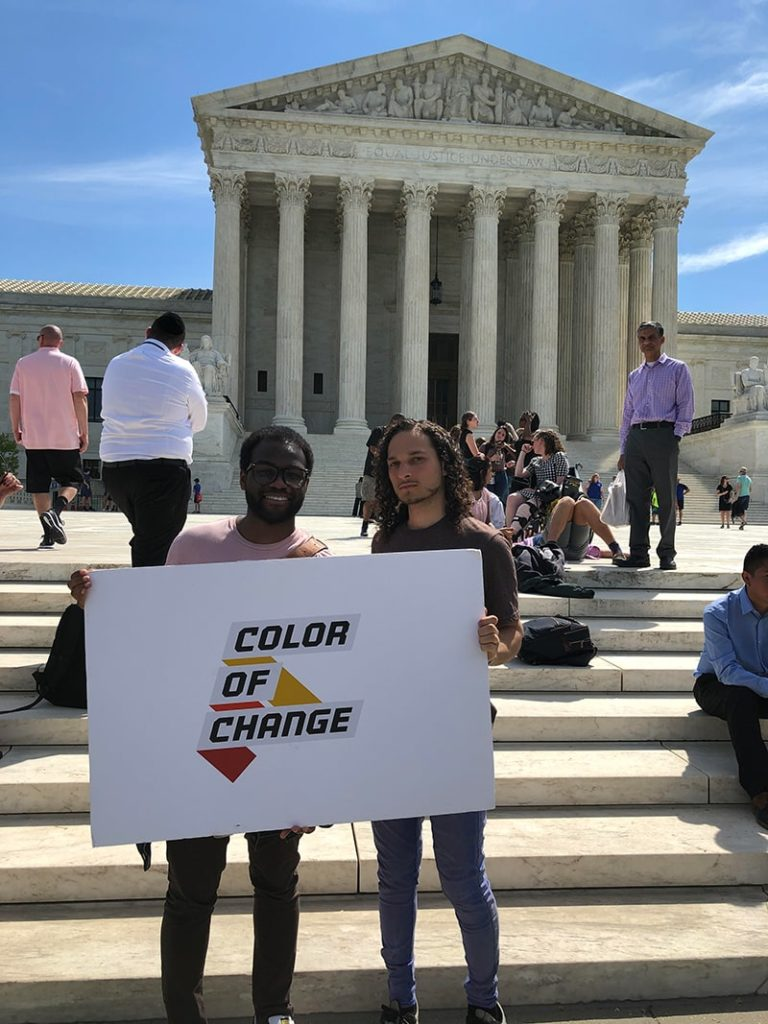 Color Of Change staff stand on the steps of the Supreme Court during an ultimately successful campaign to block the citizenship question from the 2020 Census.