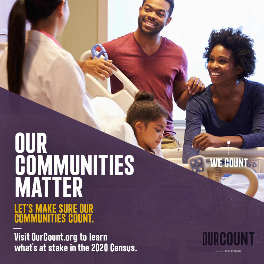 "A Black family speaks with a healthcare provider in a hospital. Text on the image says ""Our Communities Matter. Let's make sure our communities count."""